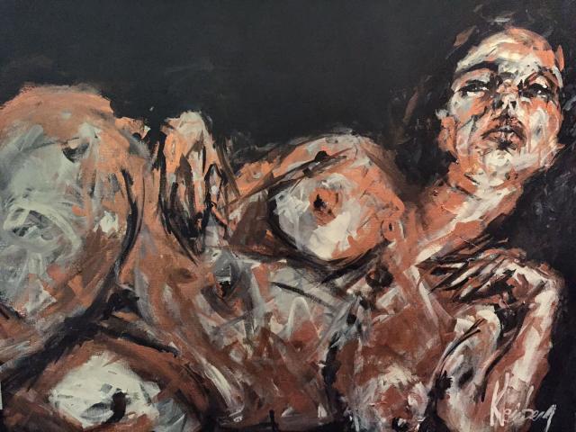 Mounia 81x100 cm, pigments cuivre et acrylique sur toile